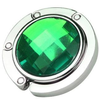 grön väskkrok eller väskhängare med stor strass kristall för att du ska kunna hänga din väska på bordet eller baren