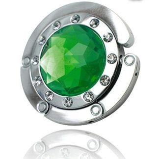 grön väskkrok eller väskhängare med stor strass kristall och små kristaller för att du ska kunna hänga din väska på bordet eller baren