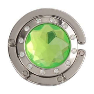 ljus grön väskkrok eller väskhängare med stor strass kristall och små kristaller för att du ska kunna hänga din väska på bordet eller baren
